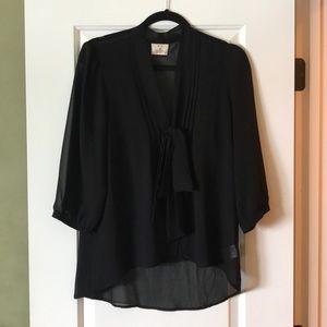 Black Chiffon button down blouse
